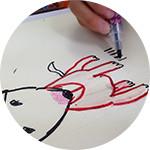 犬の絵を描いたり